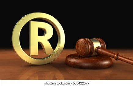 Registered trademark law business concept with golden trade mark symbol and gavel 3D illustration.
