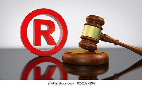 Registered trademark law and legal business concept with red trade mark symbol and gavel 3D illustration.