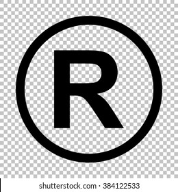 Registered Trademark sign. Flat style icon on transparent background