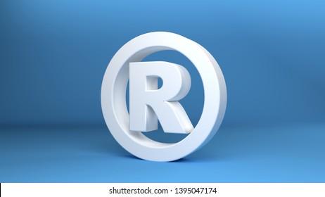Registered trademark Symbol in white on blue background 3d Illustration
