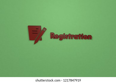 Registration 3D illustration, brown color on green background.