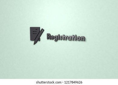 Registration 3D illustration, dark color on light green background.