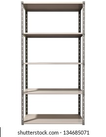 A regular assembled metal warehouse shelving unit on an isolated background