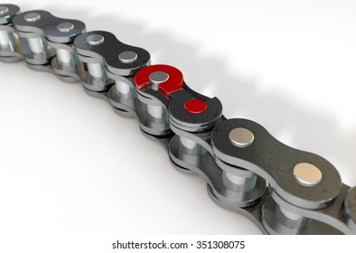 A regular bicycle chain with a question mark as its master  link on an isolated background