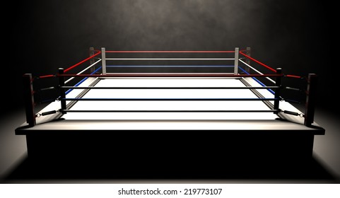 A regular boxing ring surrounded by ropes spotlit in the middle on an isolated dark background