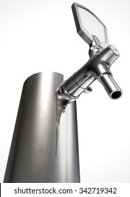 A regular chrome draught beer tap on an isolated white background