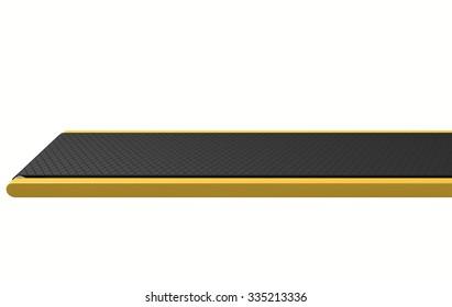 A regular empty belt conveyor on an isolated white studio background