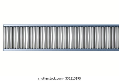 A regular empty roller conveyor on an isolated white studio background