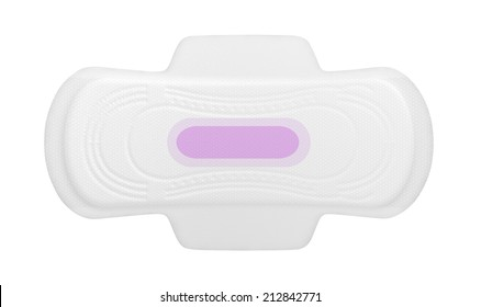 A regular sanitary pad with a pink print on an isolated background