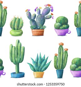 Regular seamless pattern with cute cacti, tall, round, prickly pear, agave, houseplants in pots, hand drawn illustration on white background. Cute cacti in pots, seamless pattern on white background