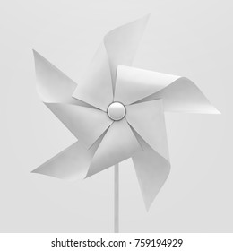 A regular toy pinwheel windmill with white colored vanes on a stick on an isolated background  - 3D render