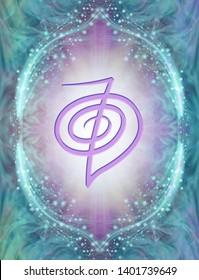 Reiki Symbol - Cho ku rei: The power symbol - an embossed lilac coloured Reiki Symbol against a sparkling jade border with pale lilac radiating light