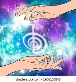 Reiki symbol. A sacred sign CHO KU REI. A hand holds Reiki CHO KU REI sign on a cosmic background. Alternative medicine.