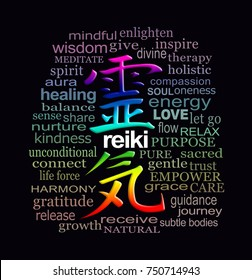 Reiki Words of Wisdom - a rainbow colored Reiki Kanji Symbol representing 'Universal Energy', surrounded by a relevant muted color word cloud on a black background
