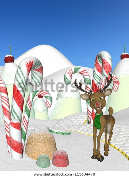 Reindeer Candy Cane Forest 2 Santas Stock Illustration 113604478