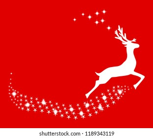 Reindeer Christmas with stars on a red background