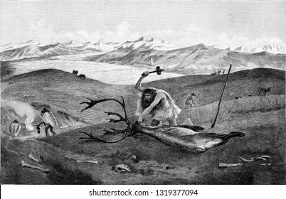 Reindeer hunt in a moraine landscape of Swabia above the last period of the ice age, vintage engraved illustration. From the Universe and Humanity, 1910.