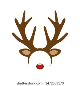 reindeer with red nose costume mask hairband illustration