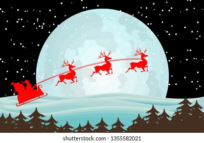 reindeer santa claus sleigh moon snow star illustration
