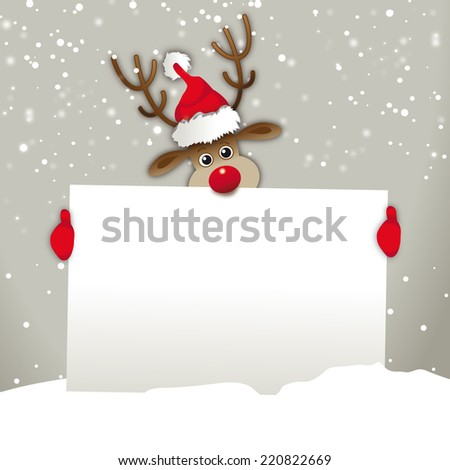 4e9cedf3b2c Reindeer Santa Hat Holding Advertising Sign Stock Illustration ...
