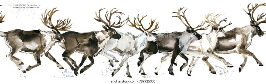 Reindeer seamless pattern. watercolor Christmas winter holidays background. Caribou. deer watercolor illustration.
