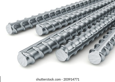 Reinforcement bars isolated on white background