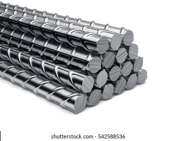 Reinforcement bars stack isolated on white background. 3d rendering illustration