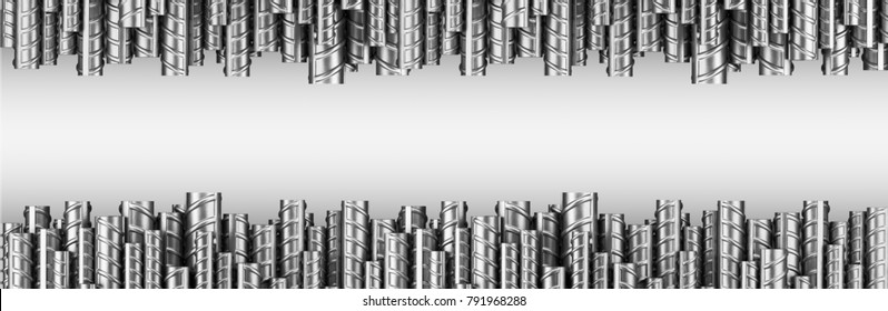 Reinforcements steel bars in dual row. Industrial background. Building armature. 3d illustration isolated on white.