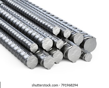 Reinforcements steel bars stack. Building armature. 3d illustration isolated on white background.