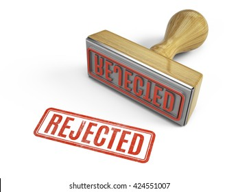 Rejected stamp isolated on white. 3d render