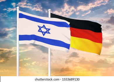 Relationship between the Israel and the Germany. Two flags of countries on heaven with sunset. 3D rendered illustration.