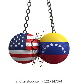 Relationship conflict between USA and Venezuela. Trade deal concept. 3D Rendering