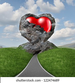 Relationship difficulties with a heart of stone breaking up to expose a red shaped love valentine symbol as a diamond in the rough representing challenges of marriage counseling and dating.