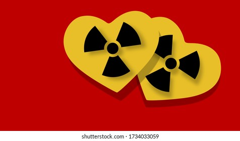 Relationship error. Toxic love concept. Illustration of two hearts with the embedded warning symbol. Alert signal, contamination. Modern and elegant design in the colors of danger red and yellow.