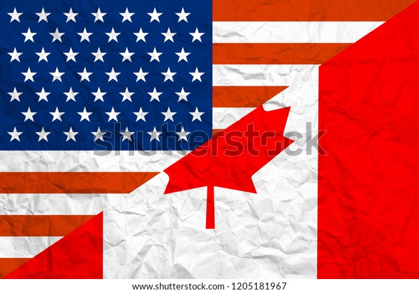 Relationship Usacanada Background National Flags On Stock