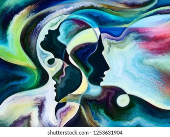 Relationships in Texture series. Backdrop design of people faces,  colors, organic textures, flowing curves for works on inner world, love, relationships, soul and Nature