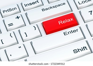 Relax button at the white computer keyboard. 3D illustration
