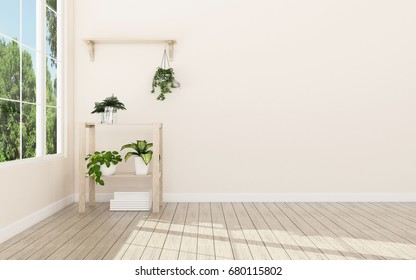 Relax space in house.White room with shelf and green landscape in window. Scandinavian interior design. -3d rendering