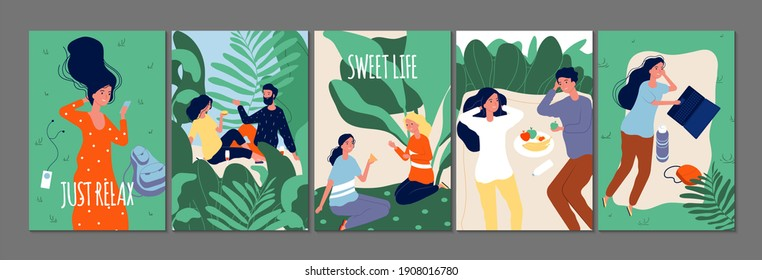 Relax time cards. Happy people relaxing on nature. Flat couples in love singles with food drinks gadgets illustration