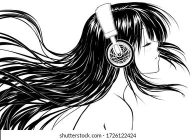 Relaxed anime girl in headphones listening to music