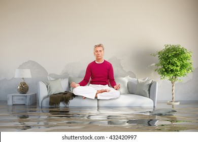 Relaxed man doing yoga after water damage on his sofa (3D Rendering)