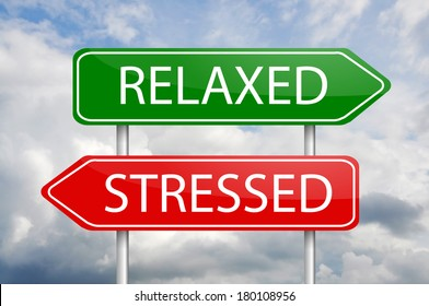 """""""Relaxed"""" and """"Stresses"""" green and red arrow post signs"""
