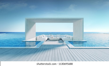 Relaxing summe,beach lounge, Sunbathing deck and private swimming pool near beach and panoramic sea view at luxury house /3d rendering