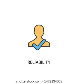 reliability concept 2 colored line icon. Simple yellow and blue element illustration. reliability concept outline symbol design