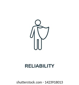 Reliability icon. Thin line design symbol from business ethics icons collection. Pixel perfect reliability icon for web design, apps, software, print usage.