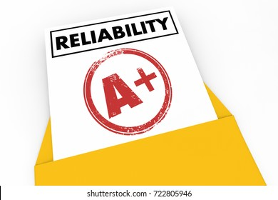 Reliability Report Card Grade Score Reliable 3d Illustration