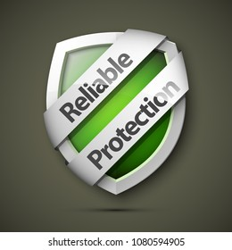 Reliable Protection guard shield concept. Safety badge, protection icon. Privacy colorful banner shield. Security label. Defense tag. Presentation sticker shield. Defense safeguard sign. badge