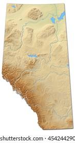 Relief map - Alberta (Canada) - 3D-Rendering