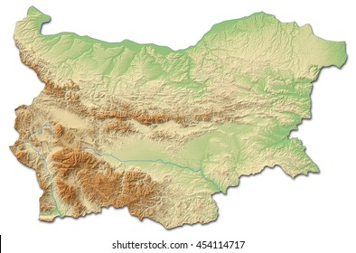Relief map of Bulgaria - 3D-Rendering