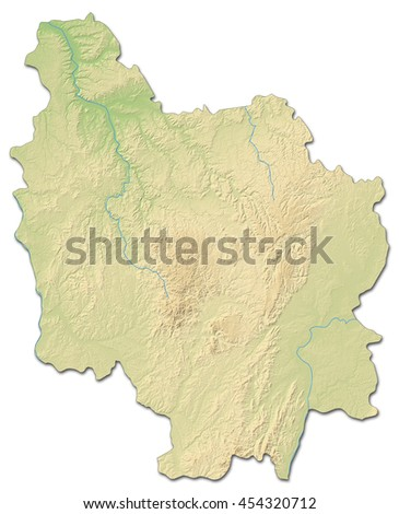 Relief Map Burgundy France 3 D Rendering Stock Illustration